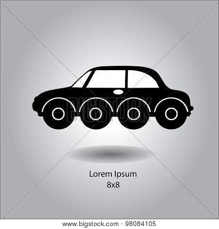 Illustration Vector Side View Of Silhouette Car With Eight Wheels, Offroad Vehicle.