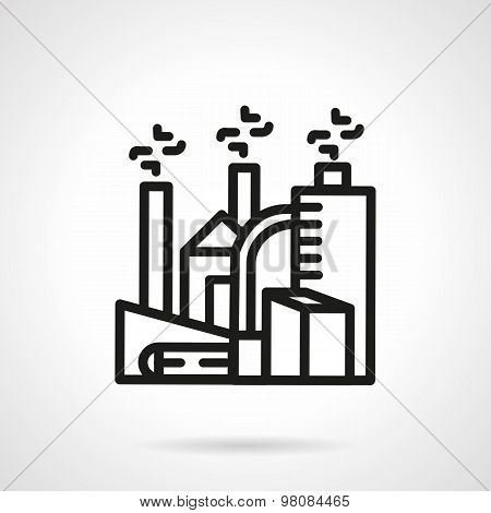 Chemical plant line vector icon