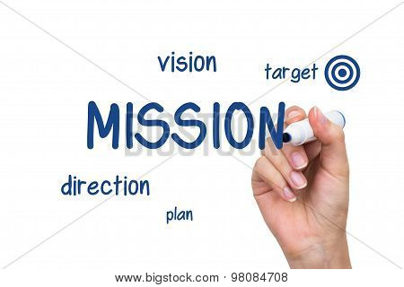 Hand Writing Company Mission Content With Blue Marker