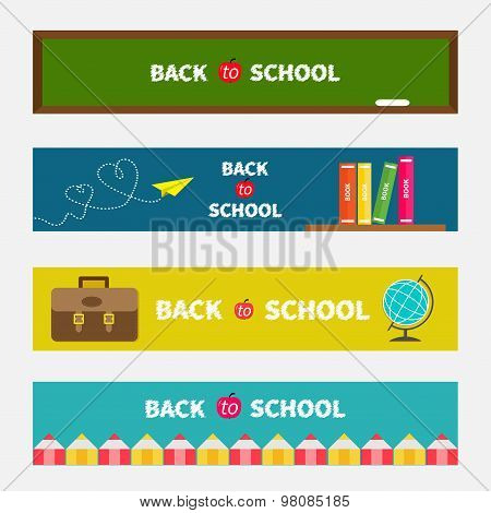 Back To School Banner Set Green Board, World Globe, Book Shelf, Origami Paper Plane, Schoolbag