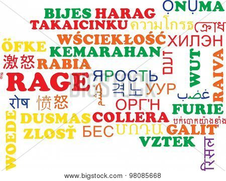 Background concept wordcloud multilanguage international many language illustration of rage