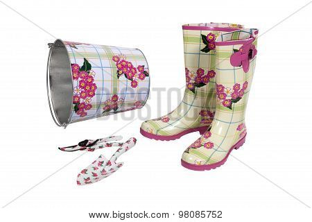 Composition With Rubber Boots, Garden Set And Metal Bucket On White Witn Clipping Path
