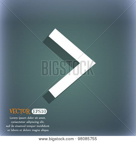 Arrow Right, Next  Icon Symbol On The Blue-green Abstract Background With Shadow And Space For Your