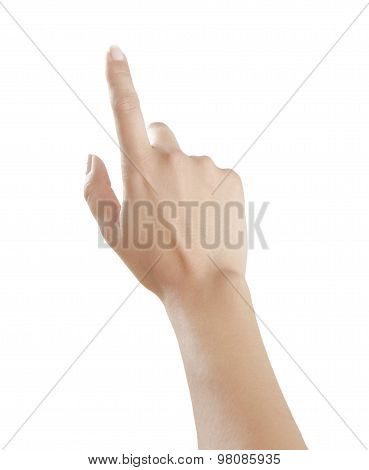 Woman Points Finger Up