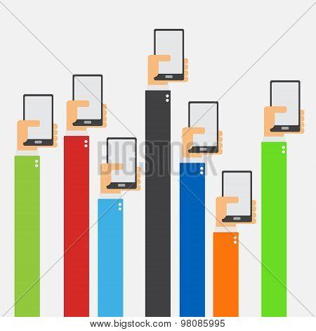 Hands Raised Holding Smartphone Flat Design