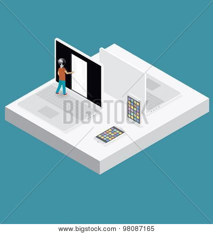 Education Concept. Door to the knowledge. Vector 3d flat isometric with student is opening the door
