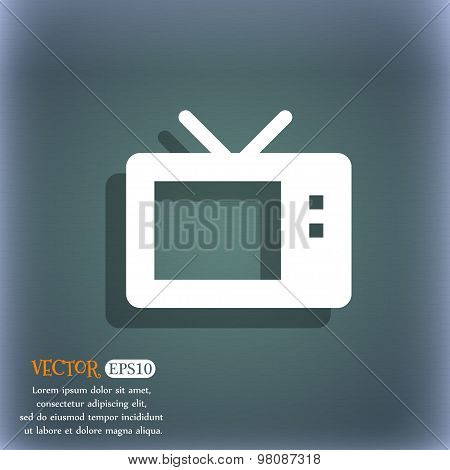 Retro Tv Mode  Icon Symbol On The Blue-green Abstract Background With Shadow And Space For Your Text
