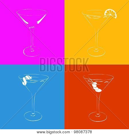 Set of the stylized martini glass in four variants.