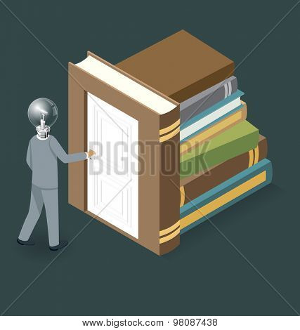 Knowledge Concept. Door to the knowledge. Vector 3d flat isometric with businessman is opening the door to big business