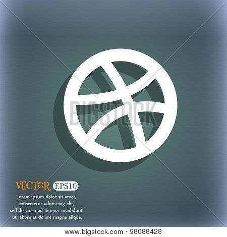 Basketball  Icon Symbol On The Blue-green Abstract Background With Shadow And Space For Your Text. V