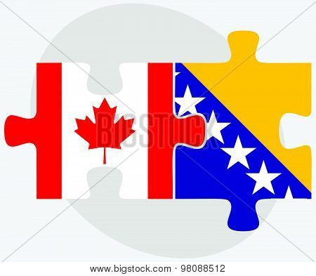 Canada And Bosnia And Herzegovina Flags