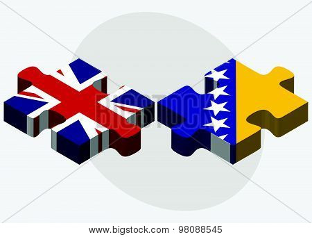 United Kingdom And Bosnia And Herzegovina Flags