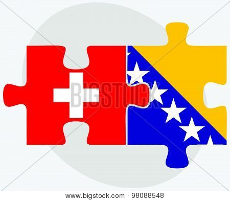 Switzerland And Bosnia And Herzegovina Flags