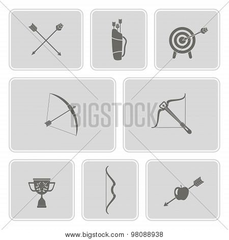 set of monochrome icons with archery