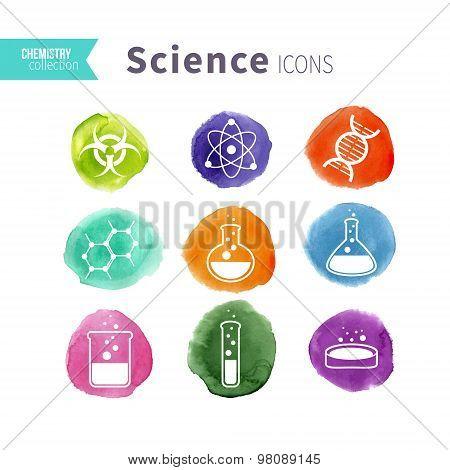 Science icons watercolor blots set
