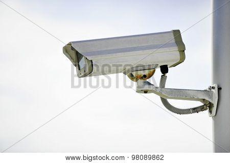 Surveillance Camera On A Pole