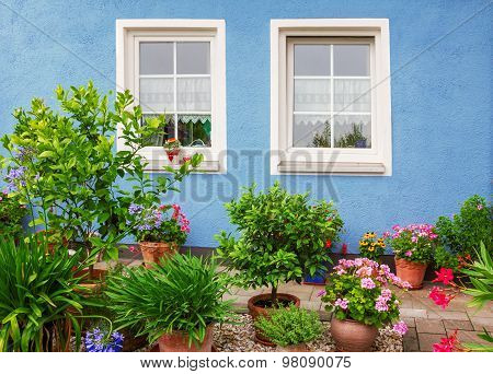 Blue House Front With Two Windows, Mediterranean Flower Pots