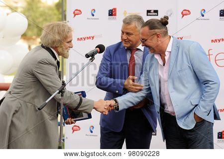 Orel, Russia, August 01, 2015: Mumu Fest, Turgenev's Story Art-festival, Turgenev (actor), Mayor Of