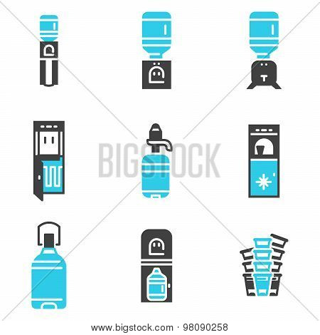 Water cooler supplies flat vector icons set