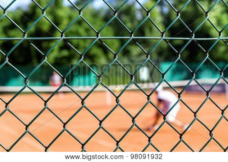 Abstract blurred image of the tennis players on court