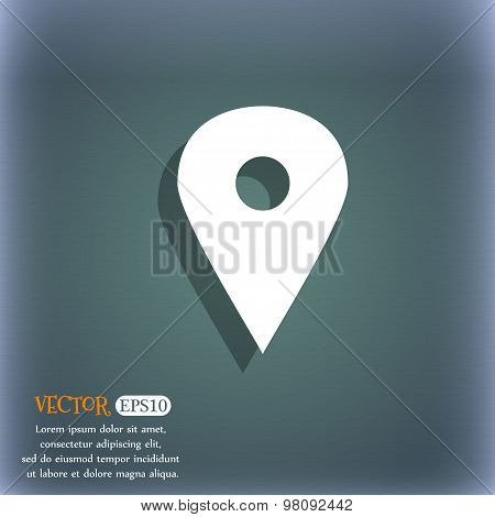 Map Pointer, Gps Location  Icon Symbol On The Blue-green Abstract Background With Shadow And Space F