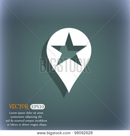 Map Pointer Award, Gps Location  Icon Symbol On The Blue-green Abstract Background With Shadow And S