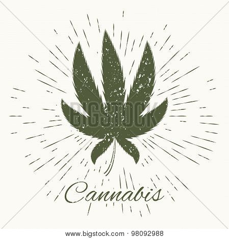 cannabis and vintage sun burst frame
