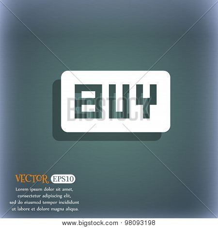 Buy, Online Buying Dollar Usd   Icon Symbol On The Blue-green Abstract Background With Shadow And Sp
