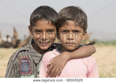 Two Young Boy In Pushkar Camel Mela . India