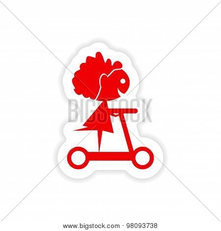 icon sticker realistic design on paper scooter girl