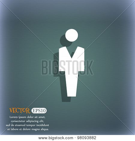 Human, Man Person, Male Toilet  Icon Symbol On The Blue-green Abstract Background With Shadow And Sp
