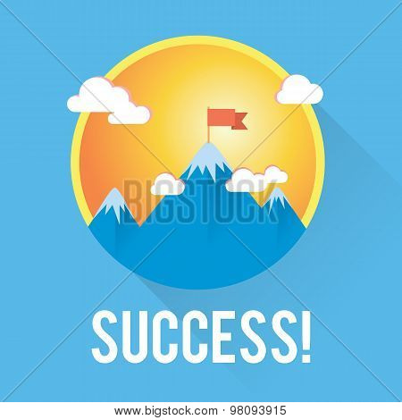 Vector success and win concept. Flag on the mountain peak.
