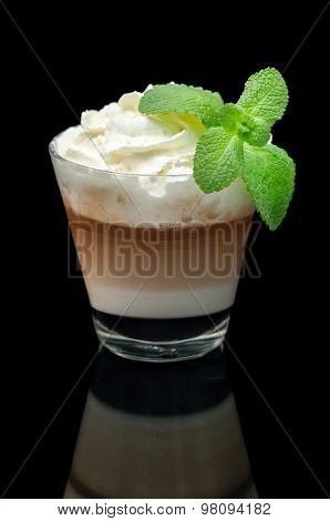 coffe latte cup on the black background