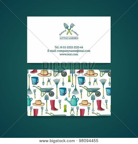 Template design business card with garden tools. Pattern and card gardening. Vector. Place for your
