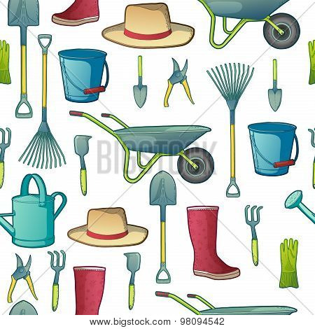 Color pattern with garden tools. Instruments, hat, wheelbarrow, gloves. vector