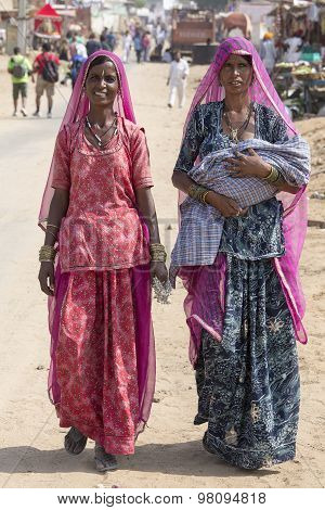 Indian Women At The Annual Pushkar Camel Mela. India