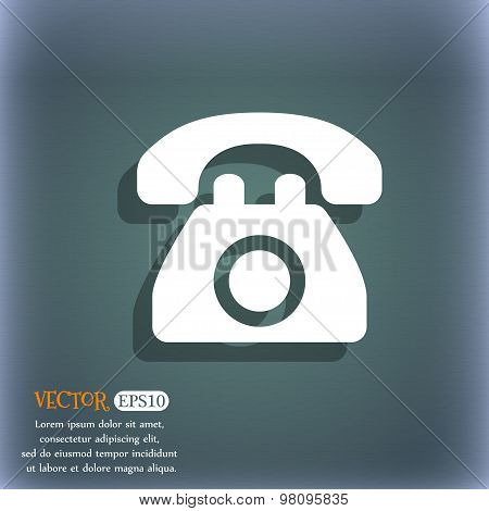 Retro Telephone  Icon Symbol On The Blue-green Abstract Background With Shadow And Space For Your Te
