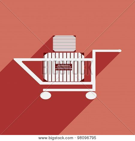 Flat with shadow icon and mobile application cart boxes