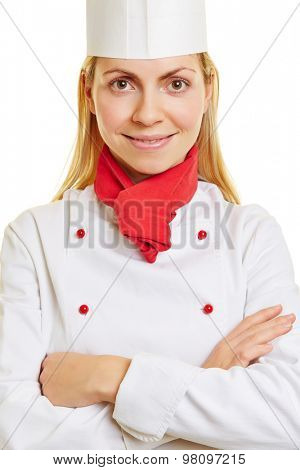 Head shot of a young happy woman as chef cook