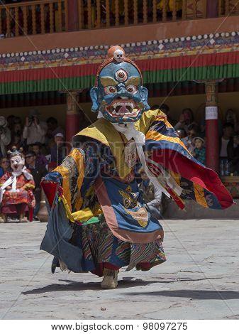 Tibetan Buddhist Lamas In The Mystical Masks Perform A Ritual Tsam Dance . Hemis Monastery, Ladakh,