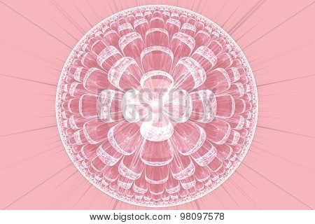 Illustration Fractal Background With Pink Lace Flower