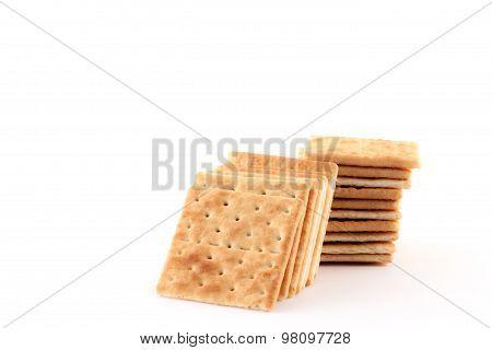 Crackers isolated on white background.