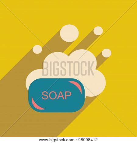 Flat with shadow icon and mobile application soap