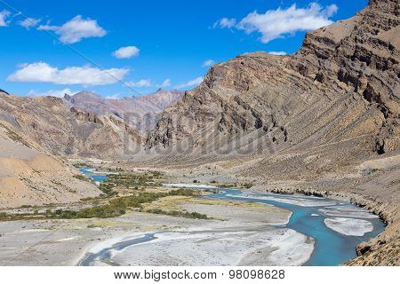 Himalayas And River Along Manali - Leh Highway. Himachal Pradesh, India