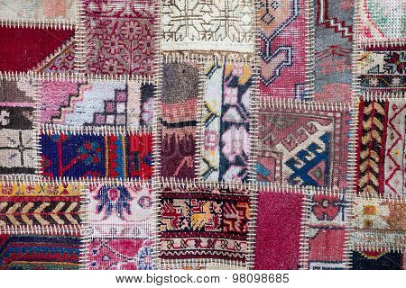 Asian Patchwork Carpet In Istanbul, Turkey