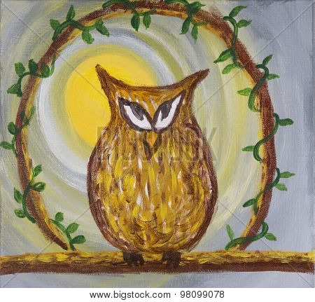 Painting of sneaky looking owl on acrylic