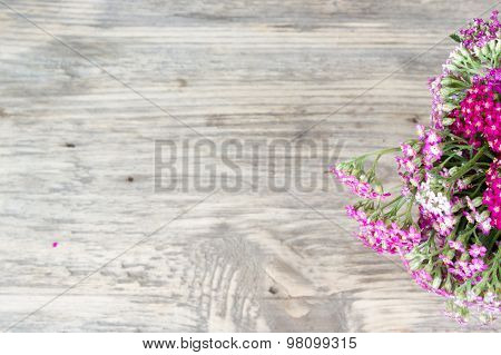 Yarrow Flower, Herbal Plants On Wooden Table With Copy Space