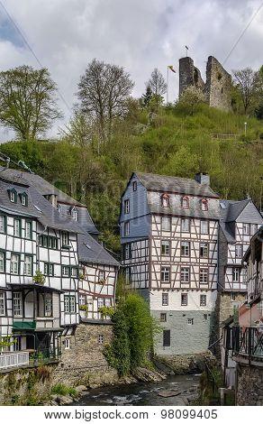 Houses Along The Rur River, Monschau, Germany