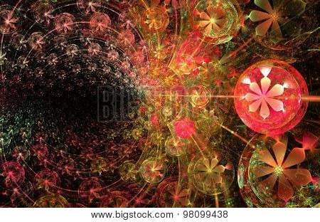 Fractal Illustration Background With A Pattern Of Flowers And Be
