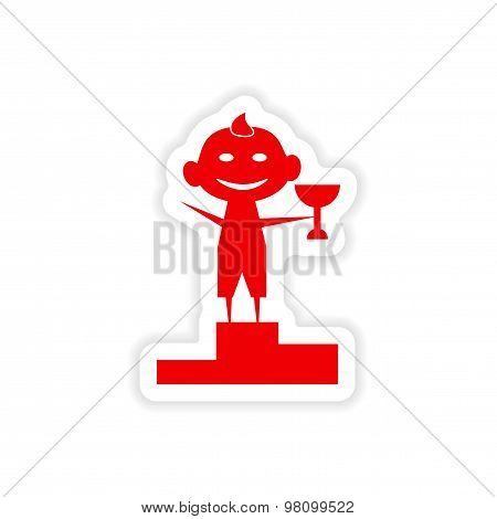 icon sticker realistic design on paper child winner